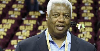 Jun 11, 2015; Cleveland, OH, USA; NBA former player Oscar Robertson before game four of the NBA Finals between the Golden State Warriors and the Cleveland Cavaliers at Quicken Loans Arena. Mandatory Credit: Bob Donnan-USA TODAY Sports