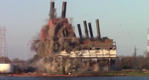 Watch a Michigan power plant get blown to smithereens [VIDEO]